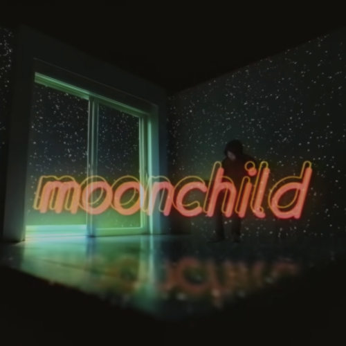 moonchild letters in black background